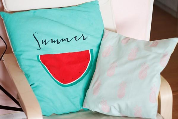 Ananas-Wassermelone Stoffdruck Kissen