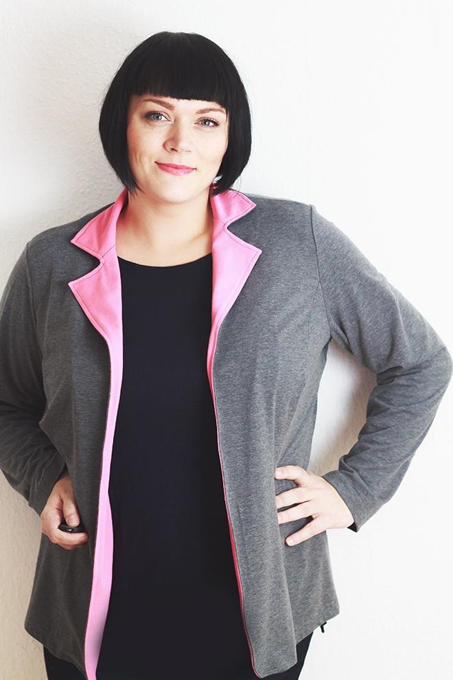 Blazer Lady Grace von Mialuna aus Jerseys von Stoff-Flausen in pink und grau