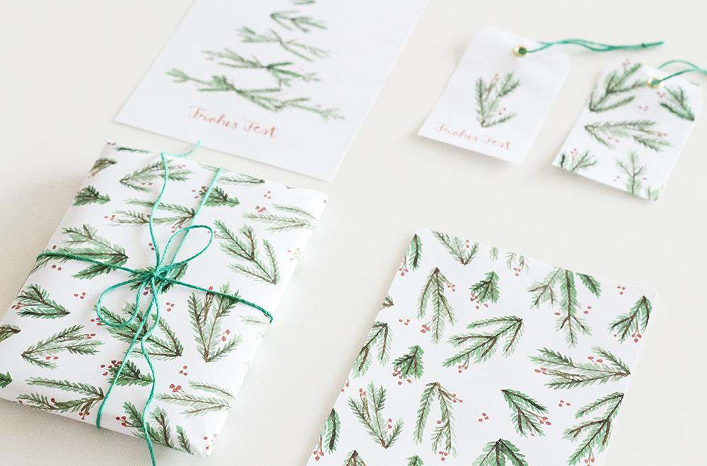 Weihnachtsgeschenke verpacken mit weihnachtlichem Verpackungsmaterial zum Ausdrucken | Free Printables | Gift wrapping
